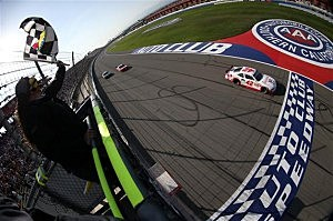 Kyle Larson wins the NASCAR Nationwide Series TREATMYCLOT.COM 300 at Auto Club Speedway