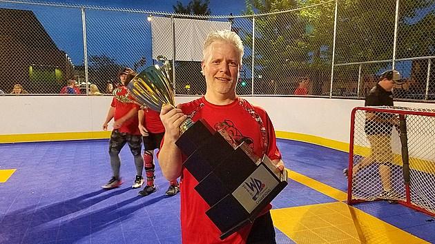 Bucky Doren with Dek Hockey Championship Cup