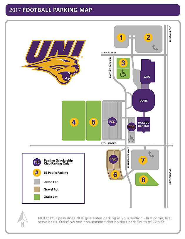 2017 UNI Football Parking Map